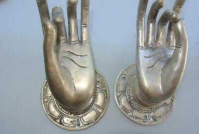 "2 medium Pull handle hand 7cm buddha brass silver door old style knob hook 3"" B 2"