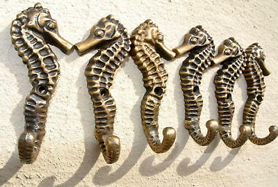 6 small SEAHORSE solid brass polished HOOKS COAT wall mounted beach old 8 cm B 9