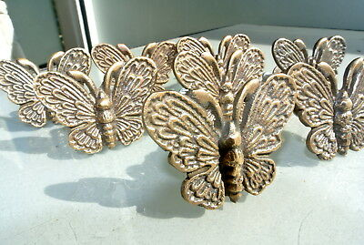 """8 heavy Butterfly handles solid Brass PULL knobs kitchens antiques 2 """" knobs B 2"""