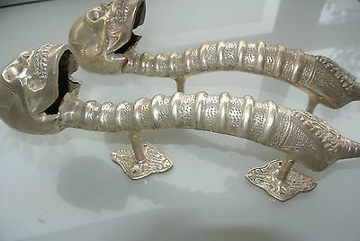 "2 amazing SKULL handle DOOR PULL spine BRASS old style SILVER plated 13"" long B 7"