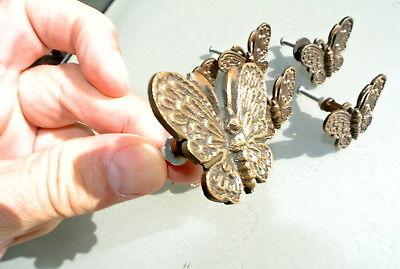 """8 heavy Butterfly handles solid Brass PULL knobs kitchens antiques 2 """" knobs B 5"""
