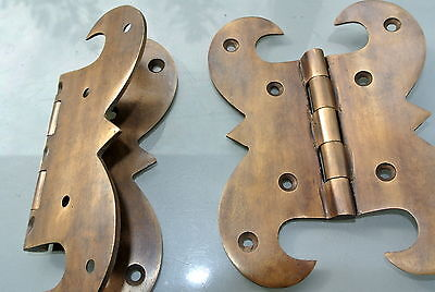 """2 heavy BOX hinge old aged style solid Brass kitchens antiques door 5"""" hand made 5"""