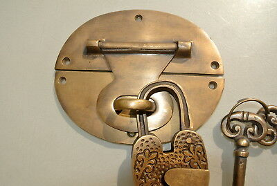 "heavy HASP & STAPLE heart oval engraved Padlock and KEYs inc 5"" OVAL catch latch 5"
