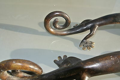 2 large GECKO brass door vintage old style house PULL handle 35cm aged curly B 8