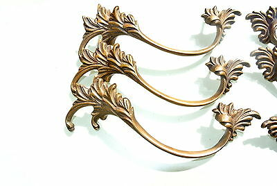 "6 old look french style pulls handles pair heavy brass vintage style doors 8""B 8"