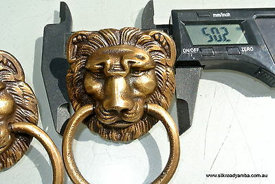 """4 PULLS handles Small heavy LION SOLID BRASS old style house antiques 2""""B 4"""