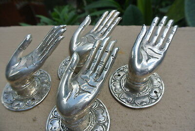 4 small BUDDHA Pull handle open hand brass silver door old style knob hook 6cm B 2