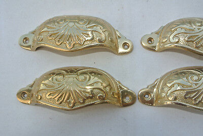 "8 shell handles PULL aged Brass PULL knob kitchen cast POLISHED 4"" screw B 5"