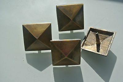 """4 brass STUDS door solid heavy furniture boxes vintage age old style 2"""" decor 2"""
