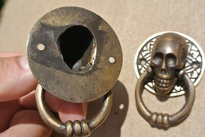 4 small SKULL head ring pull Handle cast BRASS day of the dead cabinet door 5cmB 9
