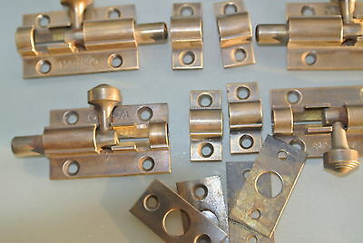 10 small BOLTS old style doors furniture heavy brass flush slide 65mm bolts 6