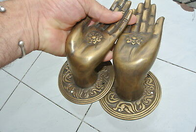 Pair large BUDDHA Pull handles hand aged heavy cast brass door old style 10 cm 8