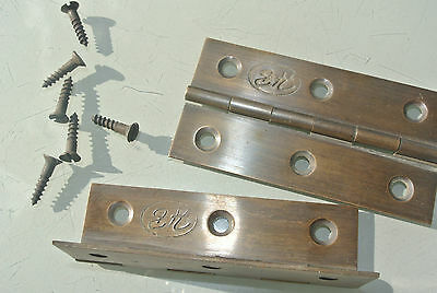 "2 small hinges vintage aged style solid Brass DOOR light restoration 3"" screws 3"