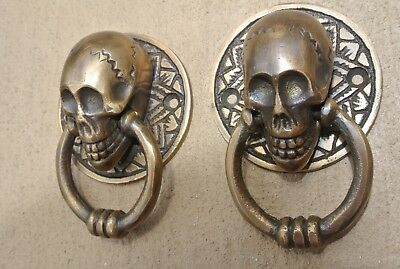 4 small SKULL head ring pull Handle cast BRASS day of the dead cabinet door 5cmB 12