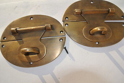 "2 large heavy HASP & STAPLE 5"" wide OVAL catch latch box door solid brass B 7"