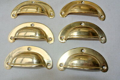 6 small shell shape pulls handles old solid brass vintage POLISHED drawer 82 mmB 3