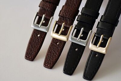 15mm 17mm 19mm BLACK or BROWN,QUALITY SOFT GENUINE CALF LEATHER WATCH STRAP L2-7 5