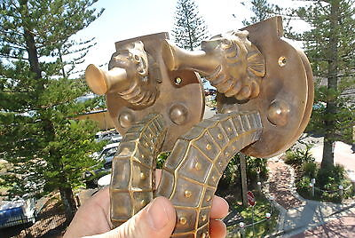 """2 used huge 17"""" Solid Brass aged finish heavy SEAHORSE Door HANDLE 13 """" PULL 7"""