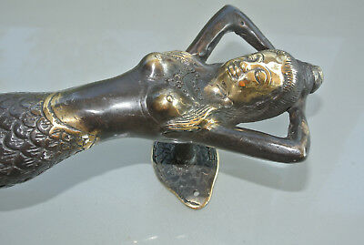 "2 MERMAID brass door PULL aged old style look heavy house PULL handle 13"" B 5"