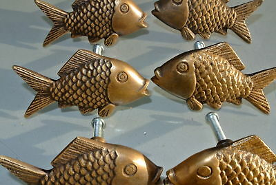 """8 aged ANTIQUE old style FISH Cabinet Door solid pure Brass KNOB Drawer Pull 2""""B 3"""