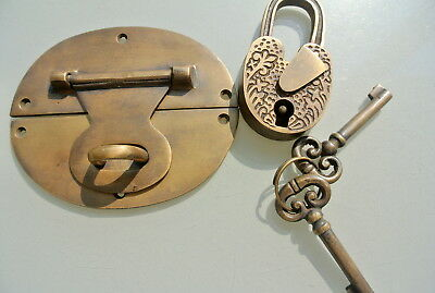 "heavy HASP & STAPLE heart oval engraved Padlock and KEYs inc 5"" OVAL catch latch 9"