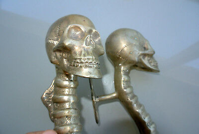 4 SKULL handle DOOR PULL spine solid BRASS old vintage style SILVER 28 cm B 8
