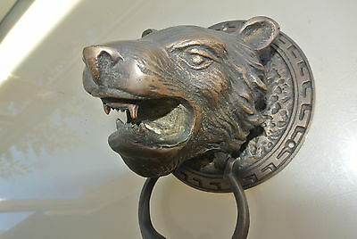 LION TIGER head old heavy front Door Knocker SOLID BRASS vintage antique style 2