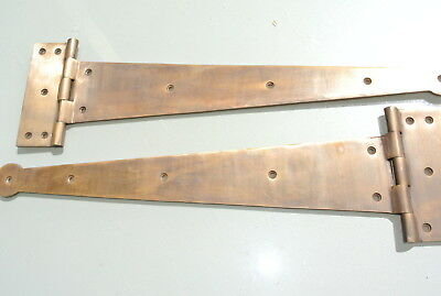 "2 massive hinges vintage aged style solid Brass DOORS BOX very heavy 18"" long 5"