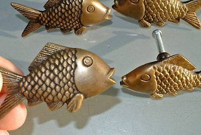 """8 aged ANTIQUE old style FISH Cabinet Door solid pure Brass KNOB Drawer Pull 2""""B 4"""