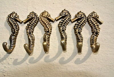 "6 small SEAHORSE BRASS HOOK COAT WALL MOUNTED HANG TROPICAL old style hook 3"" B 2"