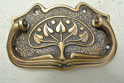 4 DECO cabinet handles solid brass furniture antiques vintage age style 9cmB 3