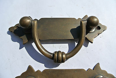 8 strong small old look BOX drawer pull handles  brass vintage age style 11 cm B 6