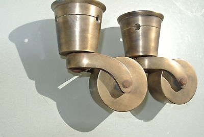 2 big CUP solid Brass foot castors wheel chairs tables old antique style castor 9