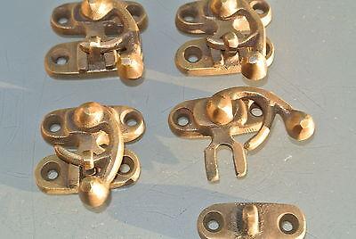4 small box Latch catch solid brass aged old finish door trinket 3 cm screw B 2