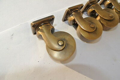 4 small screw castor chair table wheel brass 5.7 cm high heavy castors B 2