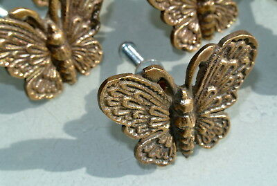 """8 heavy Butterfly handles solid Brass PULL knobs kitchens antiques 2 """" knobs B 7"""