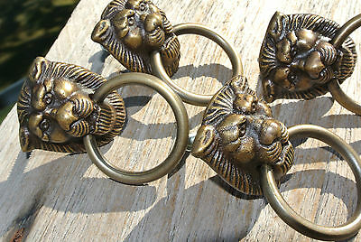 4 TINY PULLS handles  heavy LION SOLID BRASS old style screws house antiques 5