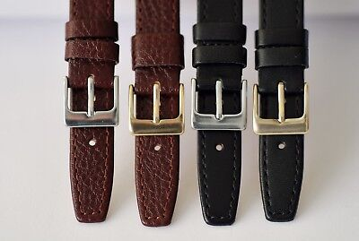 15mm 17mm 19mm BLACK or BROWN,QUALITY SOFT GENUINE CALF LEATHER WATCH STRAP L2-7 2