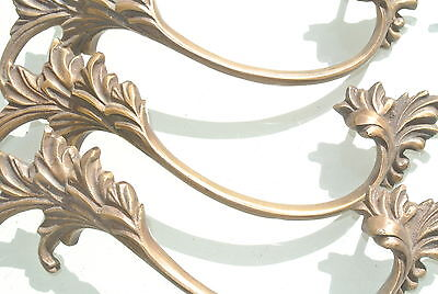 "6 old look french style pulls handles pair heavy brass vintage style doors 8"" 4"