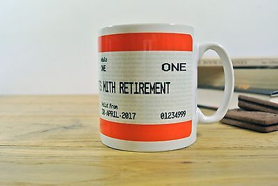 Framed Mug Poster Card Personalised Retirement Gift Train Ticket Style Print