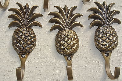 "6 small PINEAPPLE 100% BRASS HOOK COAT WALL MOUNTED HANG old style hook 4"" B 4"