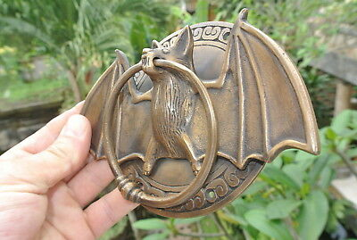 "heavy Door Knocker BAT ring old heavy SOLID cast BRASS vintage antique style 7""B 7"