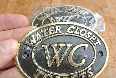 """4 toilet solid brass signs """" WC """" water closet screw door cast heavy 11.5 cm B 8"""