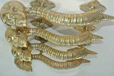 """4 small SKULL head handle DOOR PULL spine AGED  BRASS old style 8"""" B 6"""