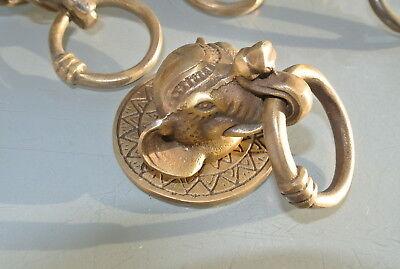 "4 ELEPHANT handle KNOB aged old  Brass PULL ring  knob kitchen 2 1/4"" heavy B 3"