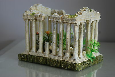 Aquarium Medium  Greek Temple Ruin Decoration & Plants & Airstone  18x12x13 cms 3