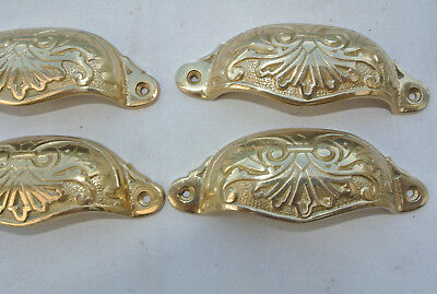 "8 shell handles PULL aged Brass PULL knob kitchen cast POLISHED 4"" screw B 4"