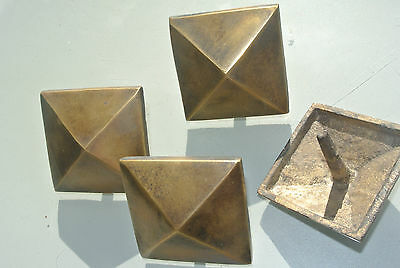 """4 brass STUDS door solid heavy furniture boxes vintage age old style 2"""" decor 4"""