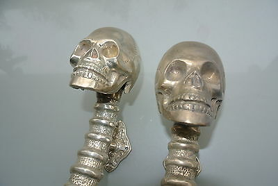 "2 amazing SKULL handle DOOR PULL spine BRASS old style SILVER plated 13"" long B 9"