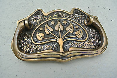 4 DECO cabinet handles solid brass furniture antiques vintage age style 9cmB 5